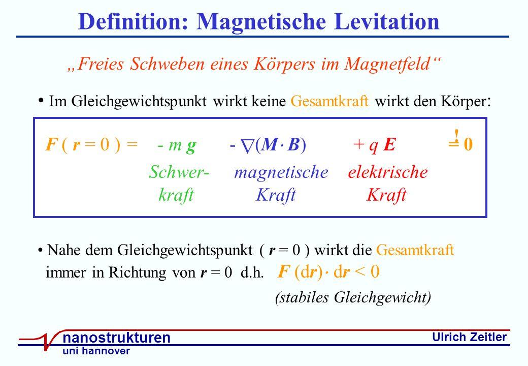 Ulrich Zeitler nanostrukturen uni hannover Definition: Magnetische Levitation Freies Schweben eines Körpers im Magnetfeld F ( r = 0 ) = - m g - (M B) + q E = 0 Schwer- magnetische elektrische kraft Kraft Kraft .