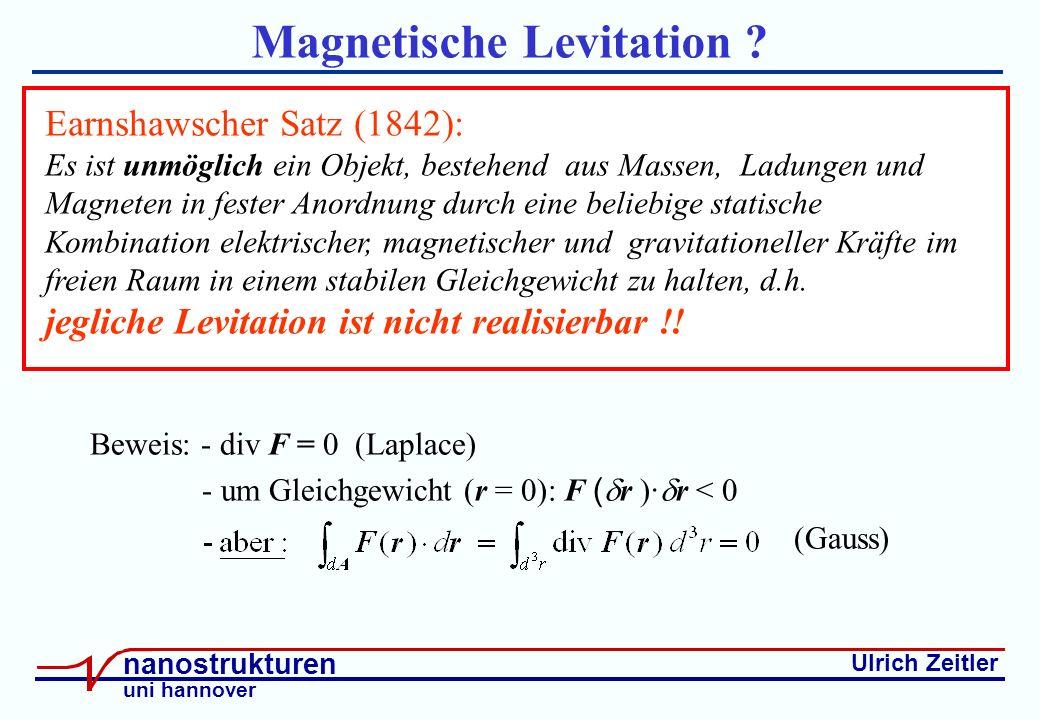 Ulrich Zeitler nanostrukturen uni hannover Magnetische Levitation .