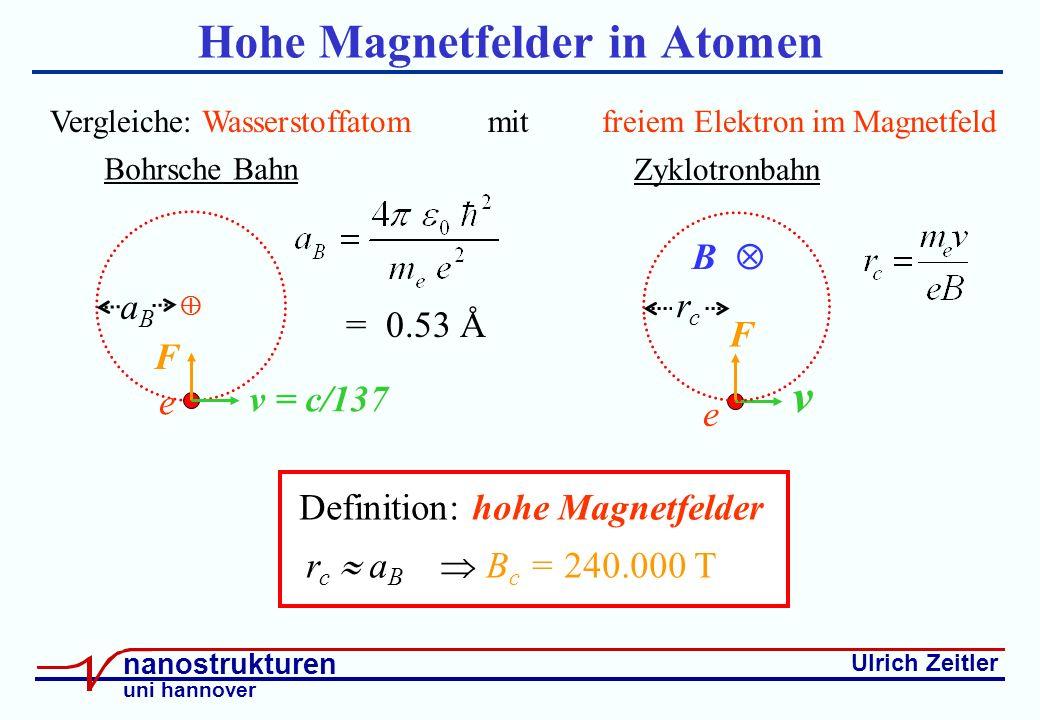 Ulrich Zeitler nanostrukturen uni hannover Hohe Magnetfelder in Atomen e F v Zyklotronbahn B rcrc Vergleiche: Wasserstoffatom mit freiem Elektron im Magnetfeld Definition: hohe Magnetfelder r c a B B c = 240.000 T Bohrsche Bahn e F v = c/137 aBaB = 0.53 Å
