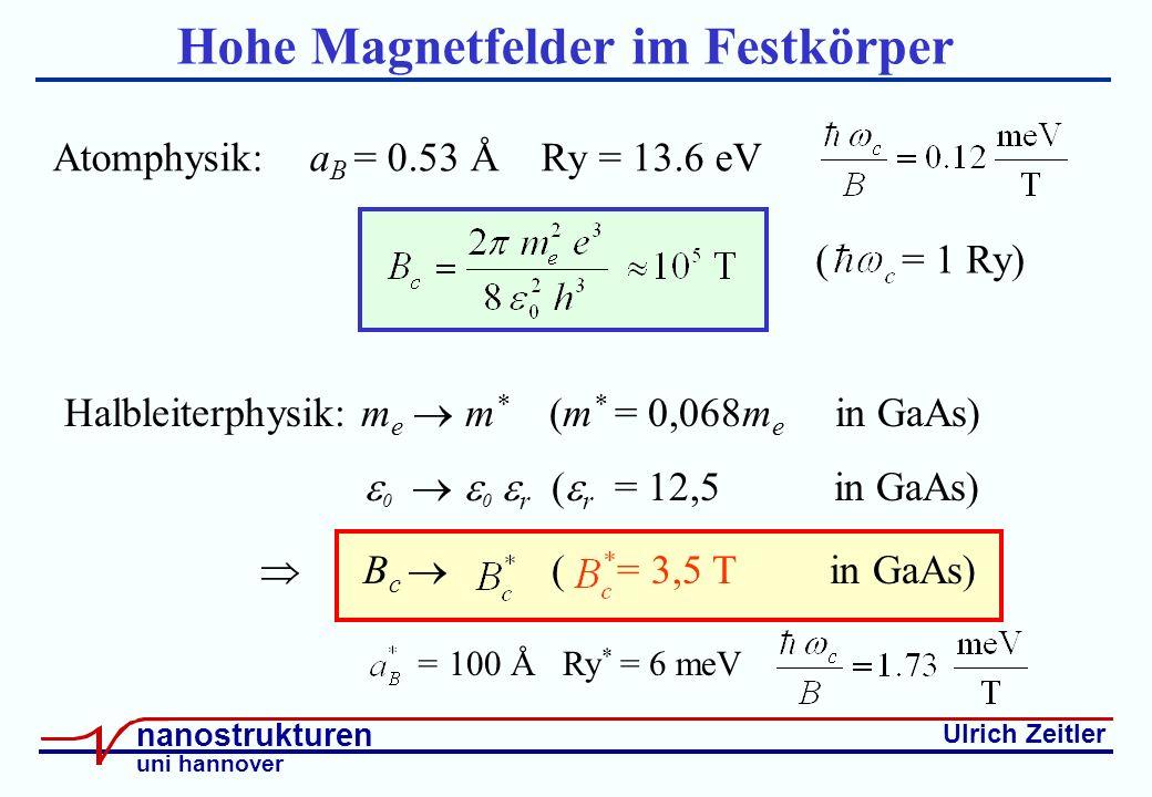 Ulrich Zeitler nanostrukturen uni hannover Hohe Magnetfelder im Festkörper Atomphysik: a B = 0.53 Å Ry = 13.6 eV ( = 1 Ry) Halbleiterphysik: m e m * (m * = 0,068m e in GaAs) 0 0 r ( r = 12,5 in GaAs) B c ( = 3,5 T in GaAs) = 100 Å Ry * = 6 meV