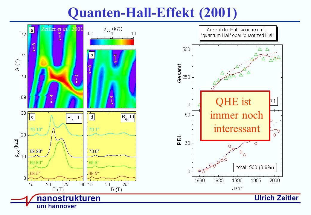 Ulrich Zeitler nanostrukturen uni hannover Quanten-Hall-Effekt (2001) Zeitler et al., 2001 QHE ist immer noch interessant