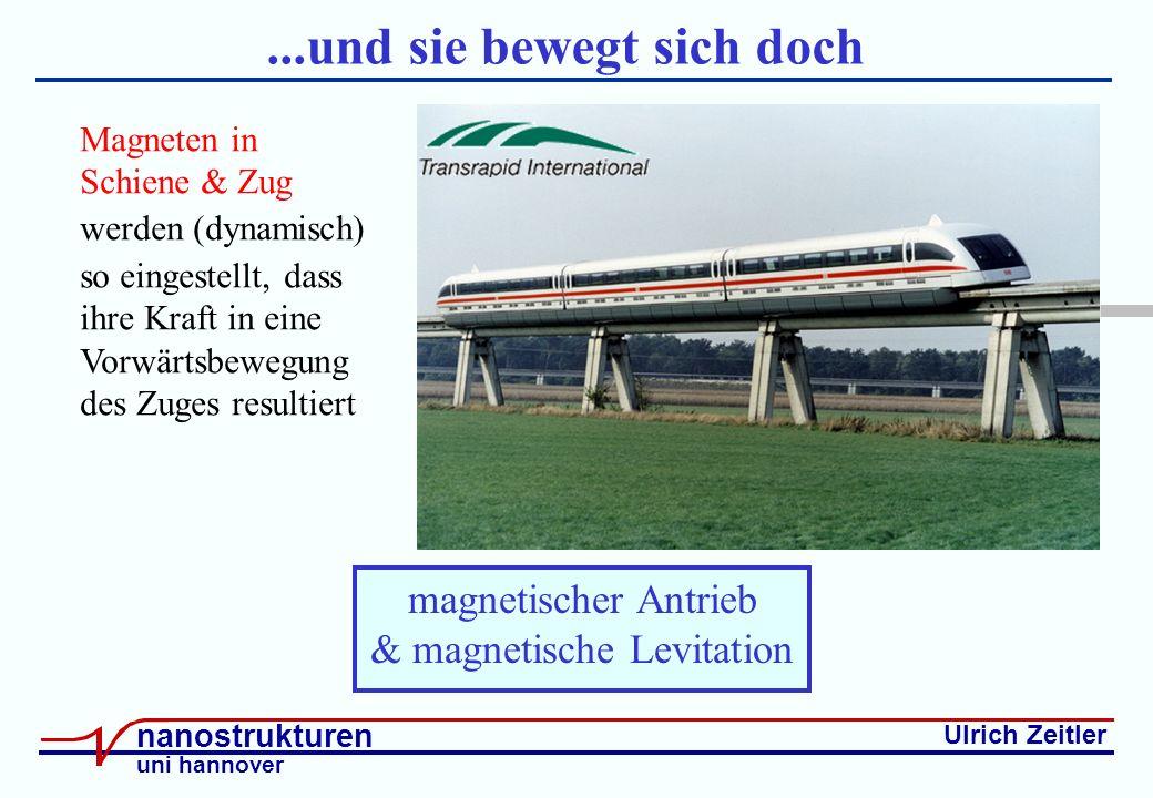 Ulrich Zeitler nanostrukturen uni hannover...und sie bewegt sich doch magnetischer Antrieb & magnetische Levitation Magneten in Schiene & Zug werden (dynamisch) so eingestellt, dass ihre Kraft in eine Vorwärtsbewegung des Zuges resultiert