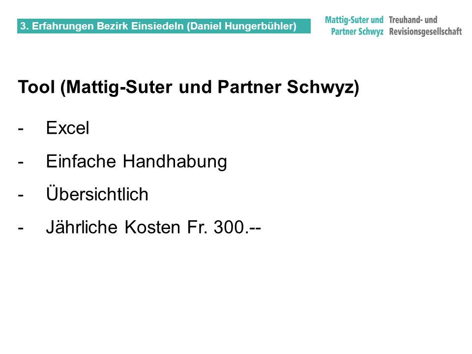 3. Erfahrungen Bezirk Einsiedeln (Daniel Hungerbühler) Tool (Mattig-Suter und Partner Schwyz) -Excel - Einfache Handhabung - Übersichtlich - Jährliche