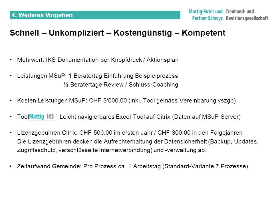 Schnell – Unkompliziert – Kostengünstig – Kompetent Mehrwert: IKS-Dokumentation per Knopfdruck / Aktionsplan Leistungen MSuP: 1 Beratertag Einführung