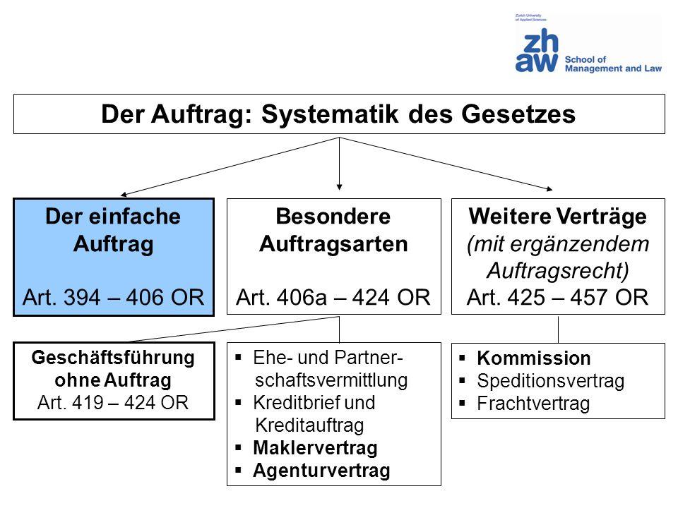 Der Auftrag: Systematik des Gesetzes Der einfache Auftrag Art. 394 – 406 OR Besondere Auftragsarten Art. 406a – 424 OR Weitere Verträge (mit ergänzend