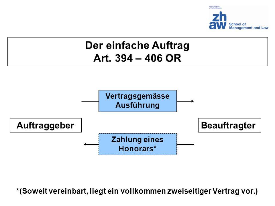 BeauftragterAuftraggeber Vertragsgemässe Ausführung Zahlung eines Honorars* Der einfache Auftrag Art. 394 – 406 OR *(Soweit vereinbart, liegt ein voll