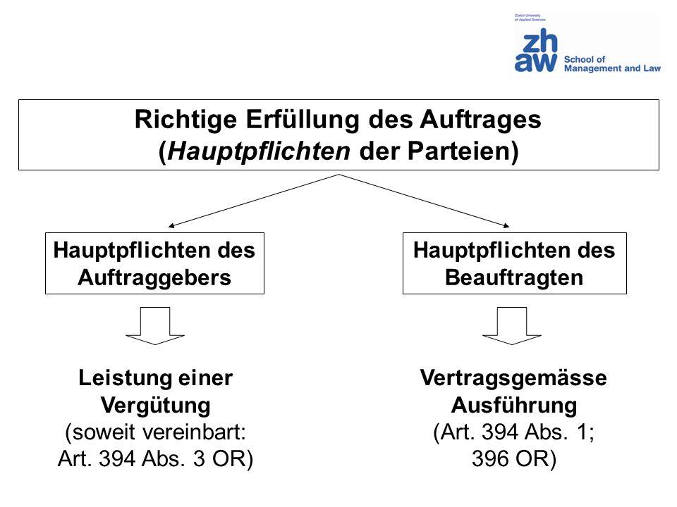 Richtige Erfüllung des Auftrages (Hauptpflichten der Parteien) Hauptpflichten des Auftraggebers Hauptpflichten des Beauftragten Vertragsgemässe Ausfüh