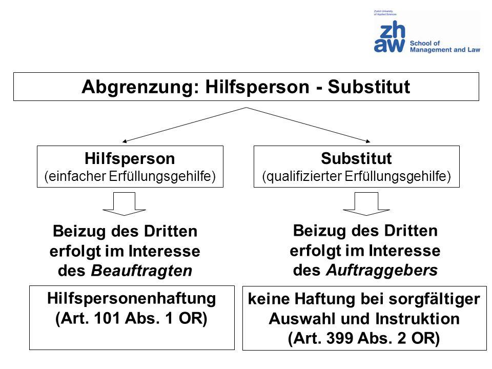 Abgrenzung: Hilfsperson - Substitut Hilfsperson (einfacher Erfüllungsgehilfe) Substitut (qualifizierter Erfüllungsgehilfe) Hilfspersonenhaftung (Art.