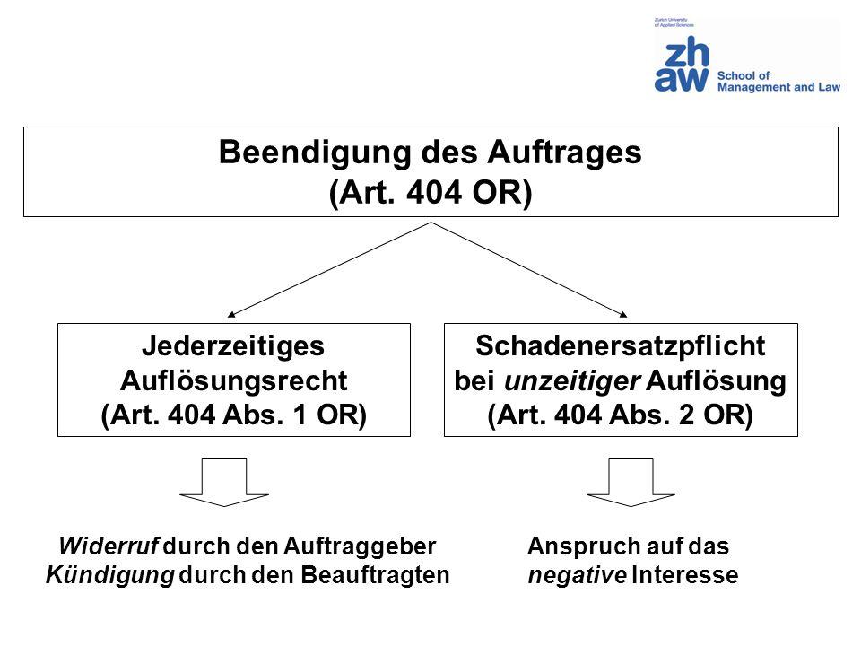 Beendigung des Auftrages (Art. 404 OR) Jederzeitiges Auflösungsrecht (Art. 404 Abs. 1 OR) Schadenersatzpflicht bei unzeitiger Auflösung (Art. 404 Abs.