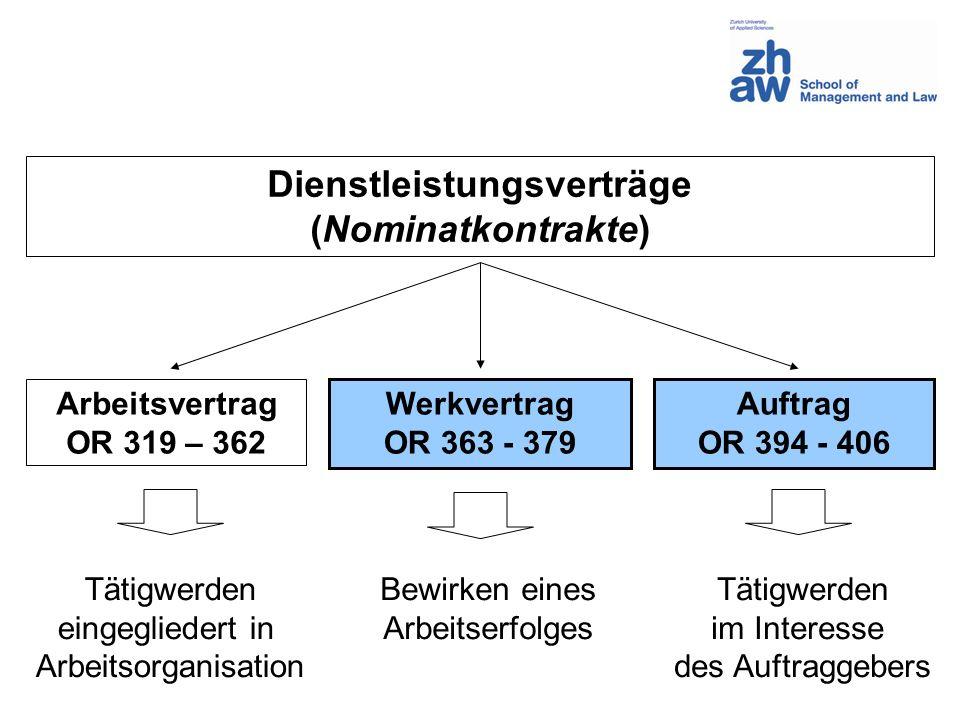 Dienstleistungsverträge (Nominatkontrakte) Arbeitsvertrag OR 319 – 362 Werkvertrag OR 363 - 379 Auftrag OR 394 - 406 Tätigwerden eingegliedert in Arbe