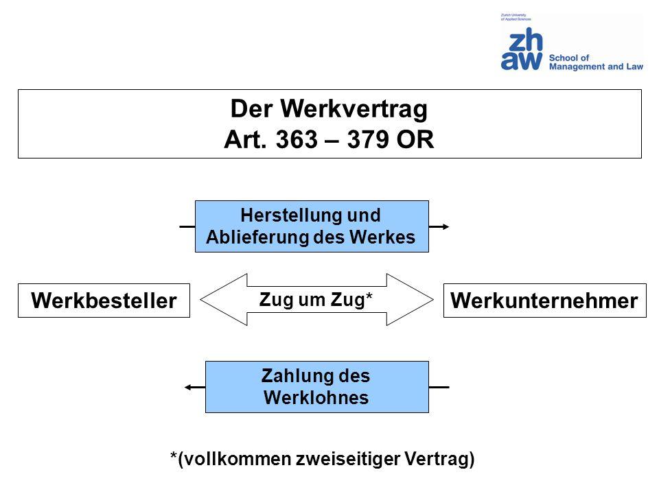 WerkunternehmerWerkbesteller Herstellung und Ablieferung des Werkes Zahlung des Werklohnes Zug um Zug* Der Werkvertrag Art. 363 – 379 OR *(vollkommen