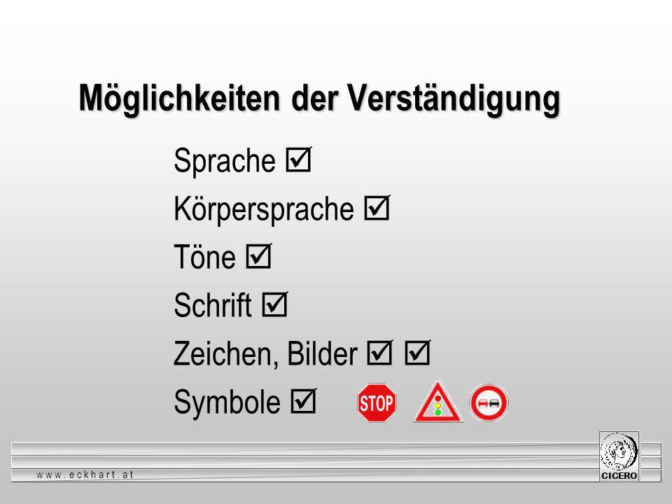 www.eckhart.at CICERO Möglichkeiten der Verständigung Sprache Körpersprache Töne Schrift Zeichen, Bilder Symbole
