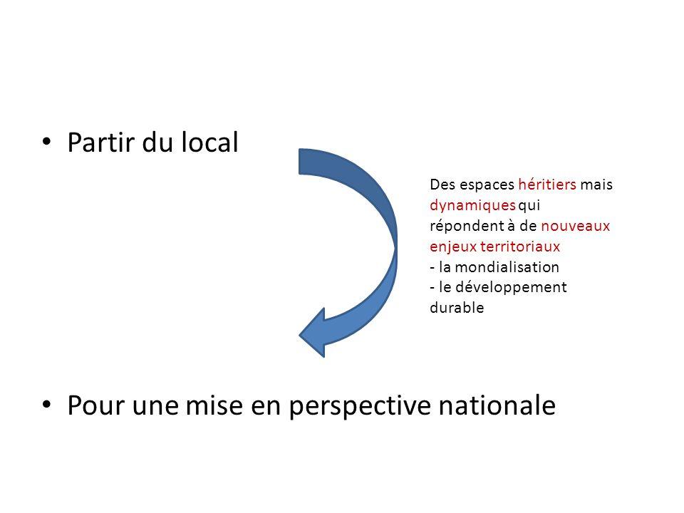 Partir du local Pour une mise en perspective nationale Des espaces héritiers mais dynamiques qui répondent à de nouveaux enjeux territoriaux - la mondialisation - le développement durable