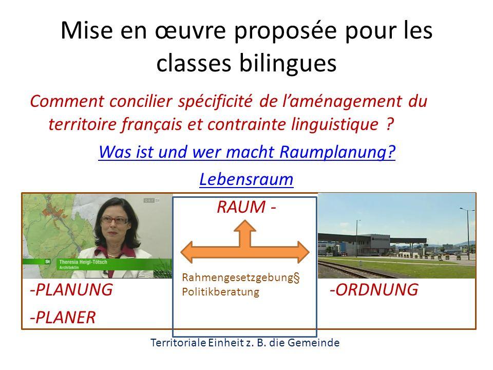Mise en œuvre proposée pour les classes bilingues Comment concilier spécificité de laménagement du territoire français et contrainte linguistique .