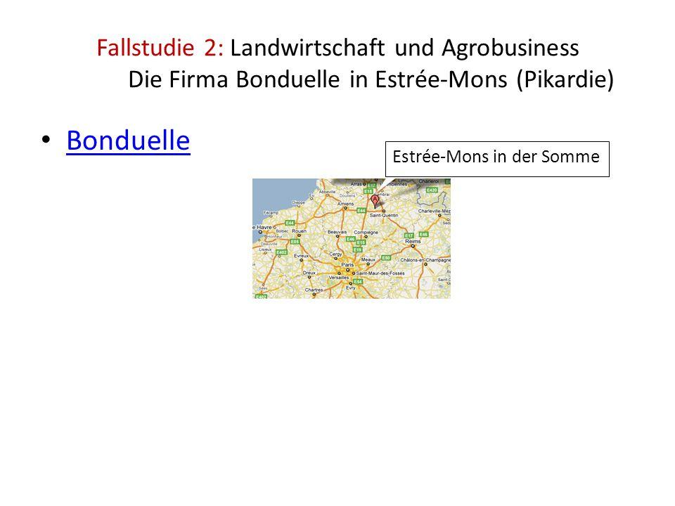 Bonduelle Fallstudie 2: Landwirtschaft und Agrobusiness Die Firma Bonduelle in Estrée-Mons (Pikardie) Estrée-Mons in der Somme