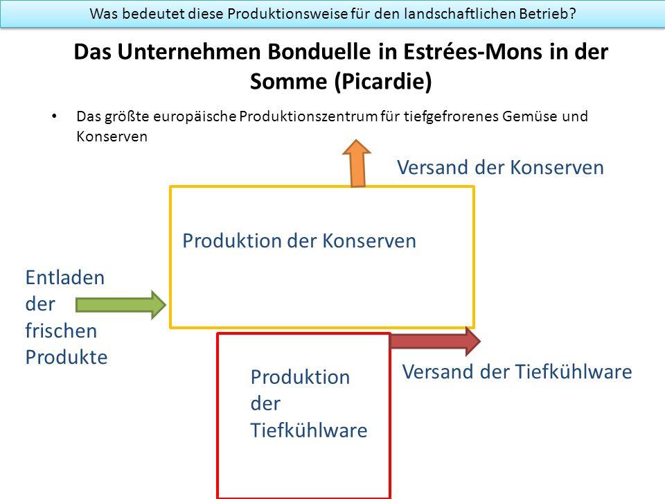 Das Unternehmen Bonduelle in Estrées-Mons in der Somme (Picardie) Das größte europäische Produktionszentrum für tiefgefrorenes Gemüse und Konserven Produktion der Konserven Was bedeutet diese Produktionsweise für den landschaftlichen Betrieb.