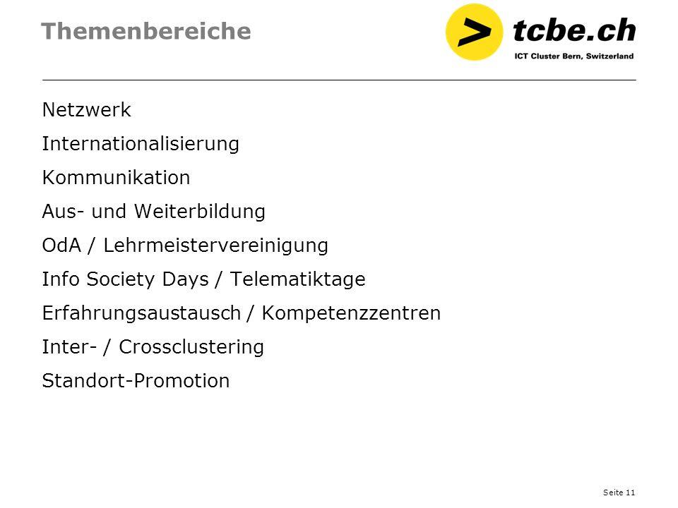 Seite 11 Themenbereiche Netzwerk Internationalisierung Kommunikation Aus- und Weiterbildung OdA / Lehrmeistervereinigung Info Society Days / Telematik