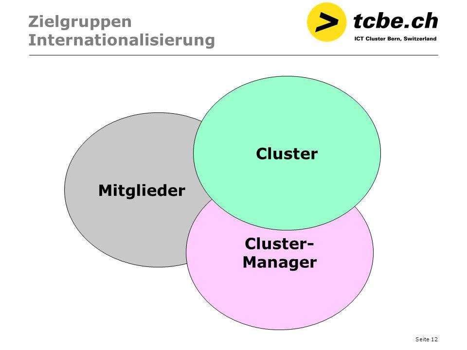 Seite 12 Zielgruppen Internationalisierung Mitglieder Cluster- Manager Cluster