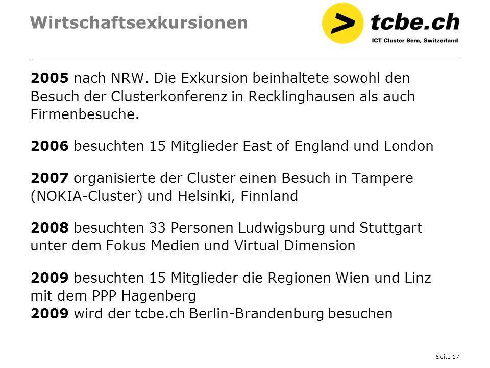 Seite 17 Wirtschaftsexkursionen 2005 nach NRW. Die Exkursion beinhaltete sowohl den Besuch der Clusterkonferenz in Recklinghausen als auch Firmenbesuc