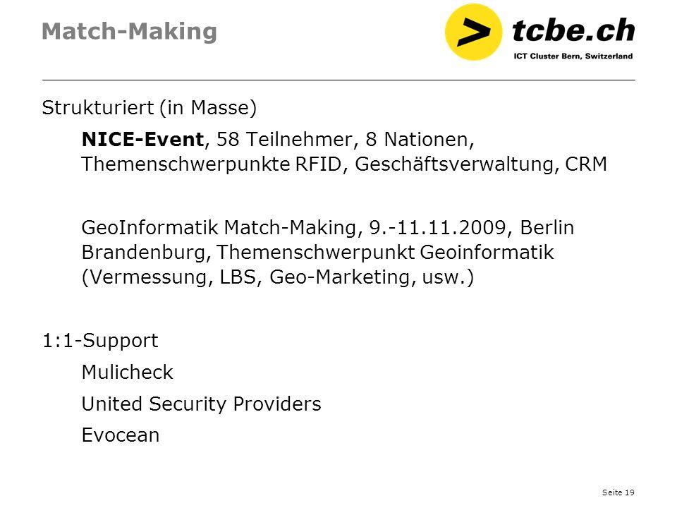 Seite 19 Match-Making Strukturiert (in Masse) NICE-Event, 58 Teilnehmer, 8 Nationen, Themenschwerpunkte RFID, Geschäftsverwaltung, CRM GeoInformatik M