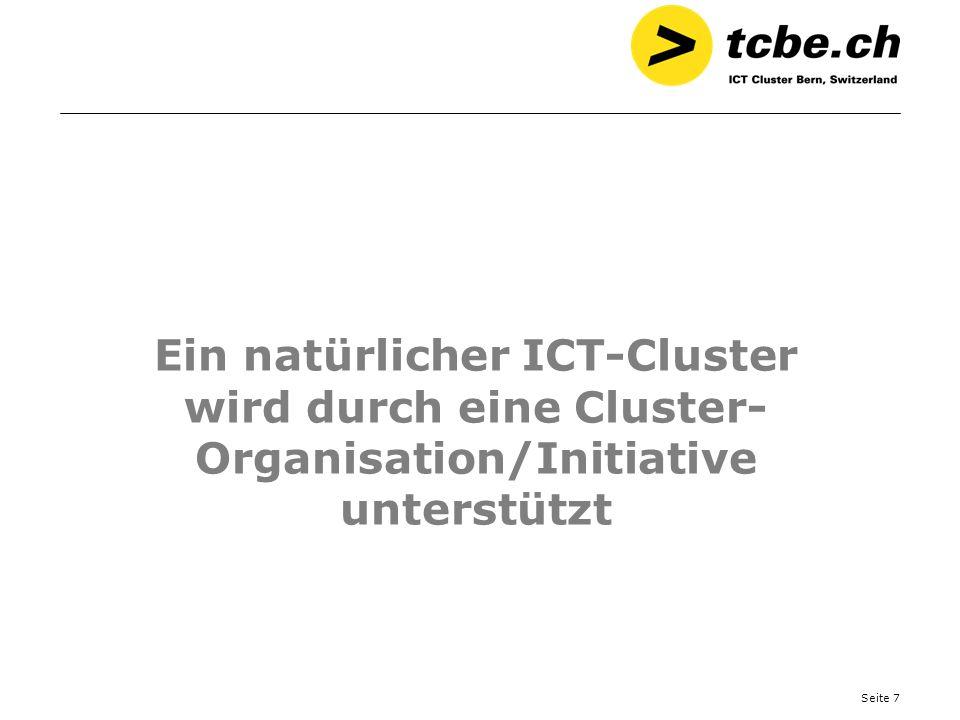 Seite 7 Ein natürlicher ICT-Cluster wird durch eine Cluster- Organisation/Initiative unterstützt