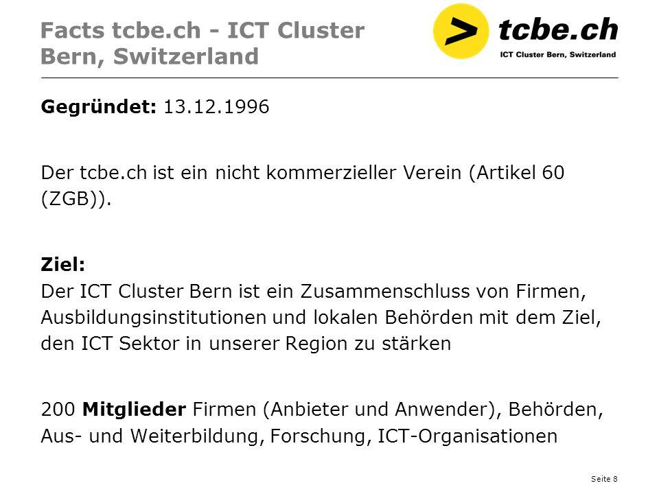 Seite 8 Facts tcbe.ch - ICT Cluster Bern, Switzerland Gegründet: 13.12.1996 Der tcbe.ch ist ein nicht kommerzieller Verein (Artikel 60 (ZGB)). Ziel: D