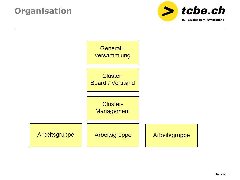 Seite 10 Public Private Partnership Der tcbe.ch lebt die Form des PPP (Public Private Partnership) Dies wird abgebildet im Vorstand / Board und bei der Finanzierung