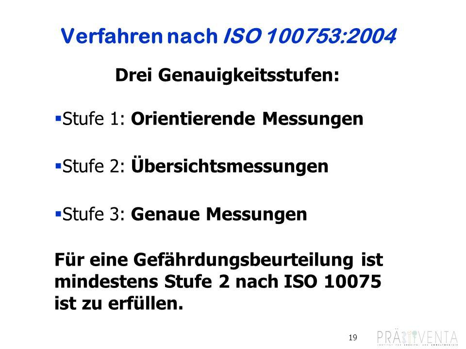 Verfahren nach ISO 100753:2004 19 Drei Genauigkeitsstufen: Stufe 1: Orientierende Messungen Stufe 2: Übersichtsmessungen Stufe 3: Genaue Messungen Fü