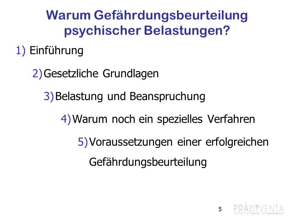 Warum Gefährdungsbeurteilung psychischer Belastungen? 1)Einführung 2)Gesetzliche Grundlagen 3)Belastung und Beanspruchung 4)Warum noch ein spezielles