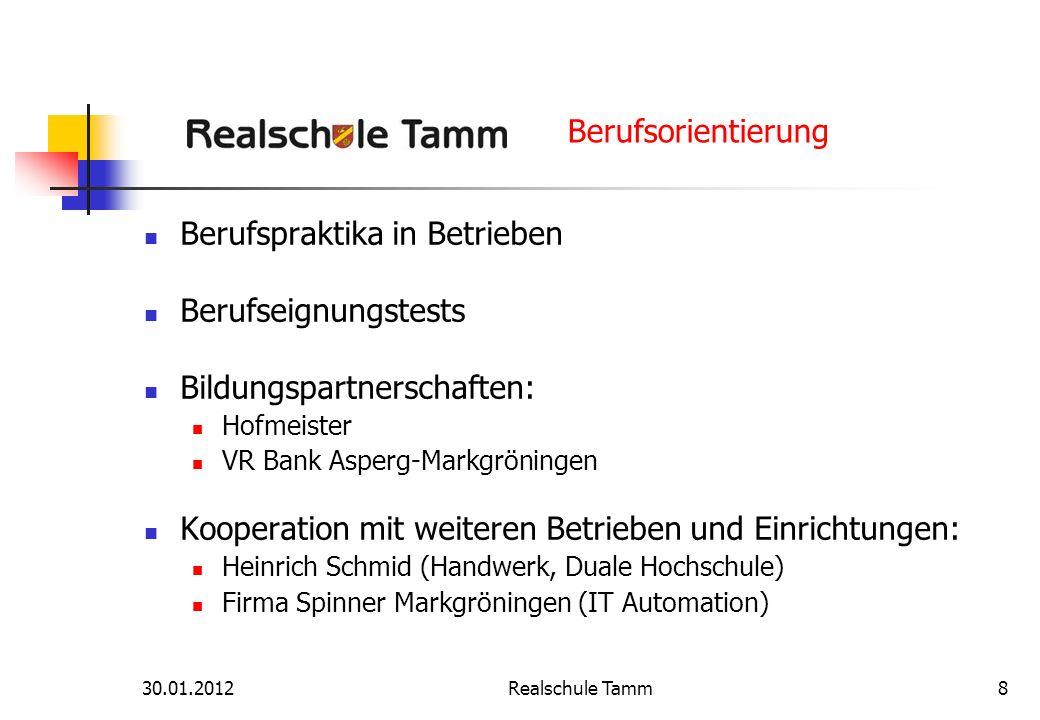 30.01.2012Realschule Tamm8 Berufsorientierung Berufspraktika in Betrieben Berufseignungstests Bildungspartnerschaften: Hofmeister VR Bank Asperg-Markg