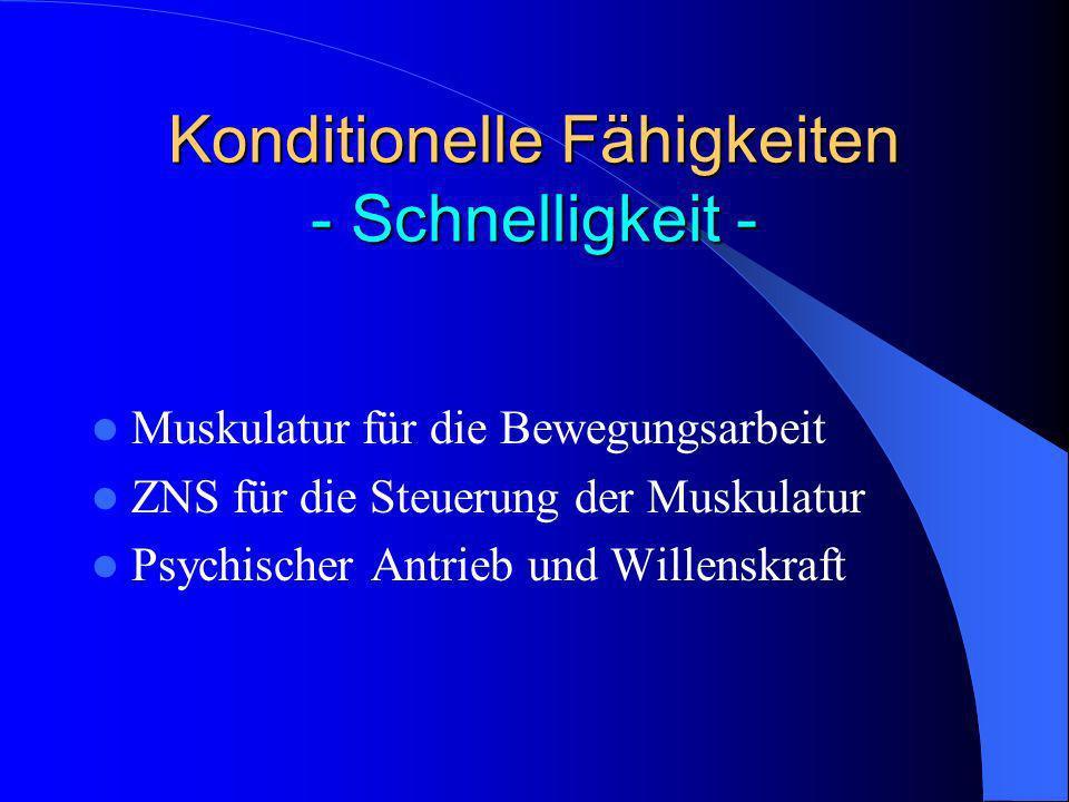Konditionelle Fähigkeiten - Schnelligkeit - Muskulatur für die Bewegungsarbeit ZNS für die Steuerung der Muskulatur Psychischer Antrieb und Willenskra