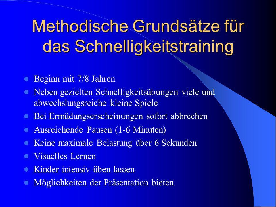Methodische Grundsätze für das Schnelligkeitstraining Beginn mit 7/8 Jahren Neben gezielten Schnelligkeitsübungen viele und abwechslungsreiche kleine
