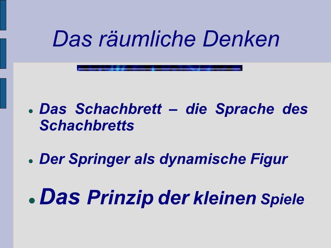 Das räumliche Denken Das Schachbrett – die Sprache des Schachbretts Der Springer als dynamische Figur Das Prinzip der kleinen Spiele