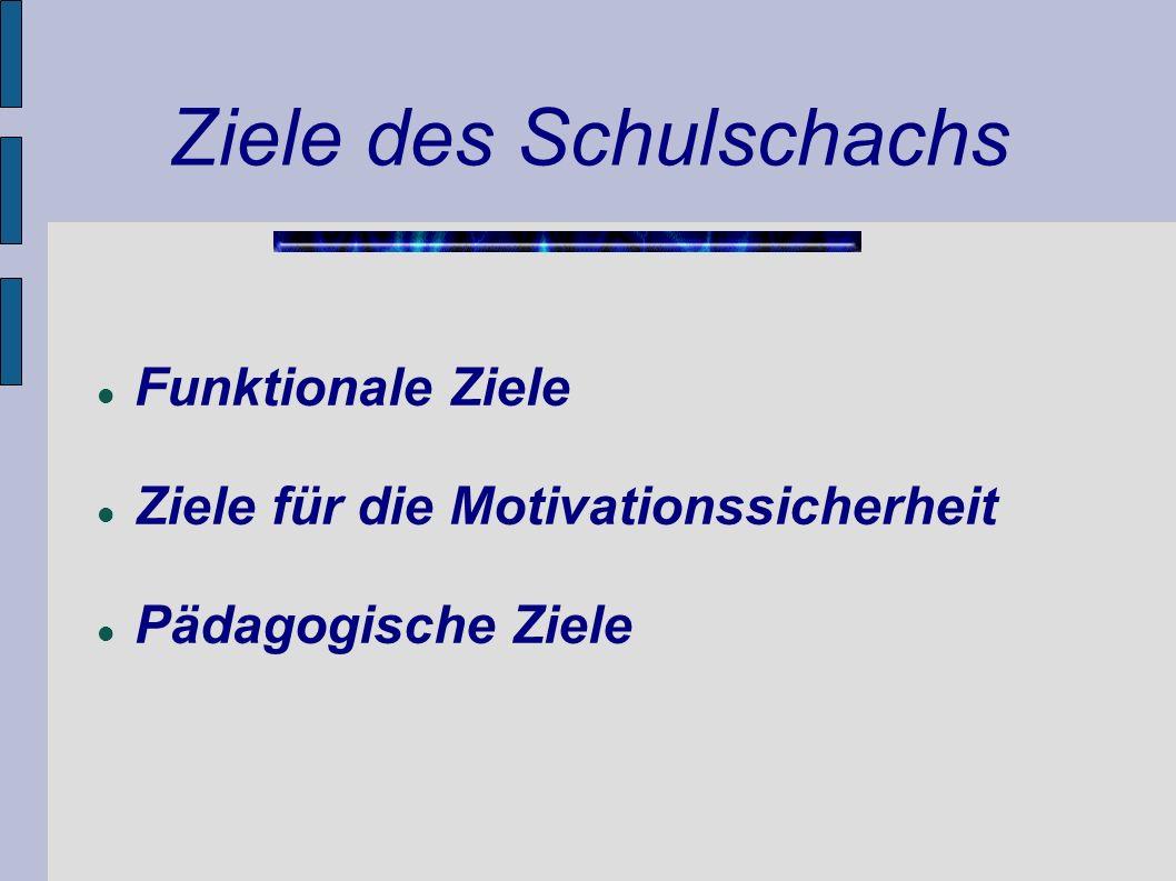 Ziele des Schulschachs Funktionale Ziele Ziele für die Motivationssicherheit Pädagogische Ziele