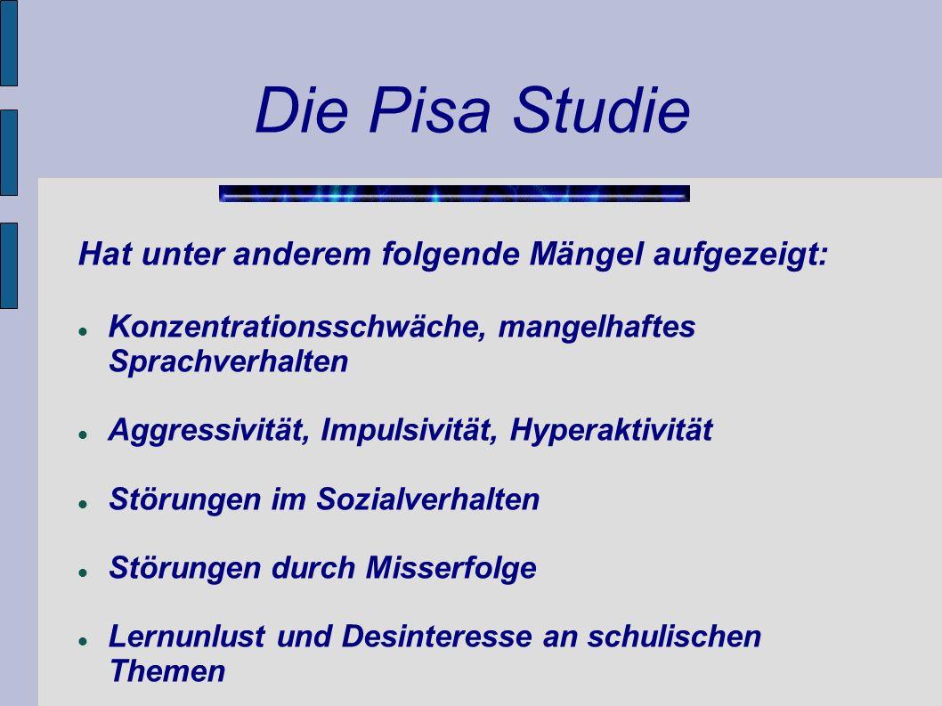 Die Pisa Studie Hat unter anderem folgende Mängel aufgezeigt: Konzentrationsschwäche, mangelhaftes Sprachverhalten Aggressivität, Impulsivität, Hypera