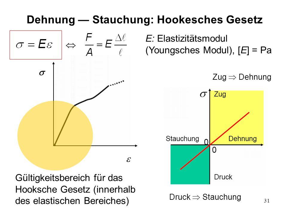 31 Gültigkeitsbereich für das Hooksche Gesetz (innerhalb des elastischen Bereiches) E: Elastizitätsmodul (Youngsches Modul), [E] = Pa Dehnung Stauchun