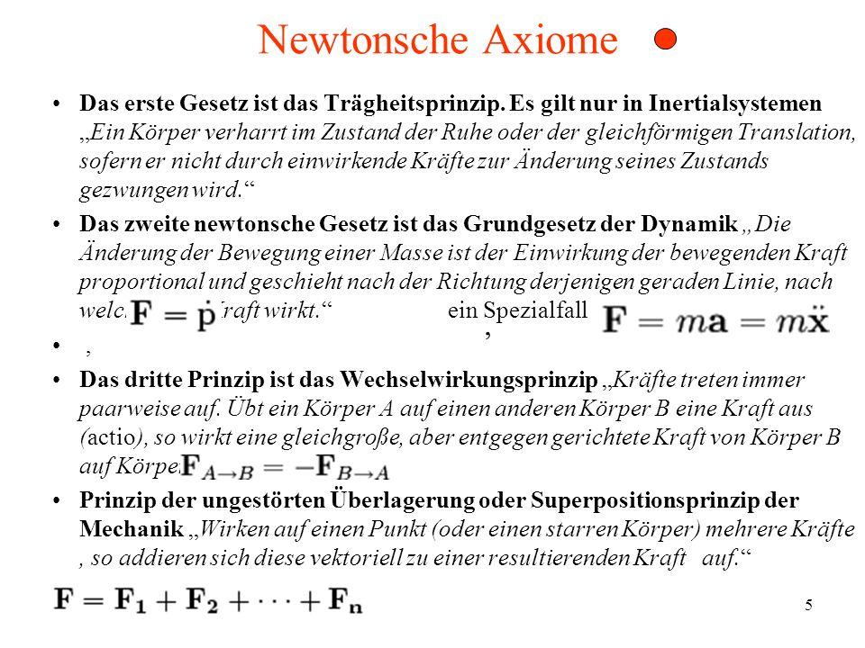 5 Newtonsche Axiome Das erste Gesetz ist das Trägheitsprinzip. Es gilt nur in InertialsystemenEin Körper verharrt im Zustand der Ruhe oder der gleichf