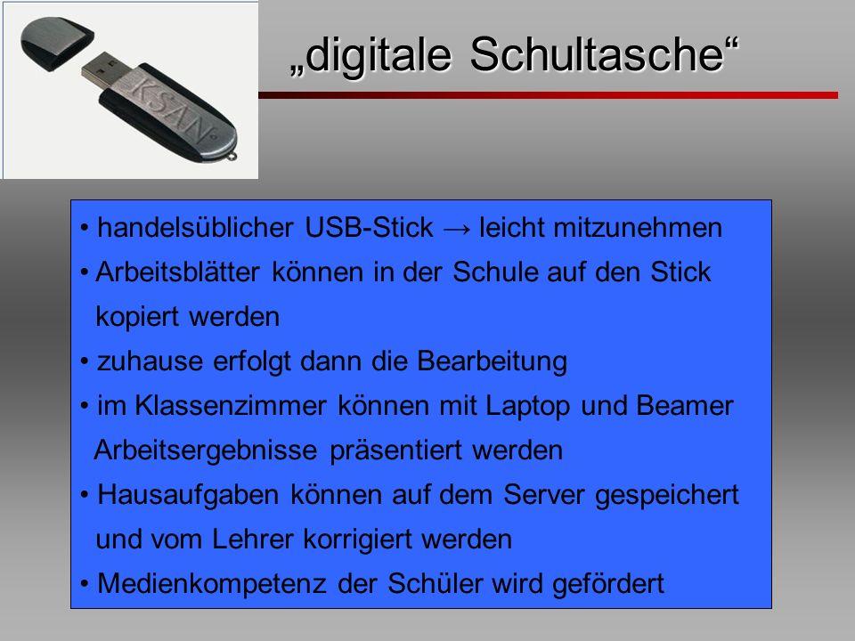 digitale Schultasche digitale Schultasche handelsüblicher USB-Stick leicht mitzunehmen Arbeitsblätter können in der Schule auf den Stick kopiert werde