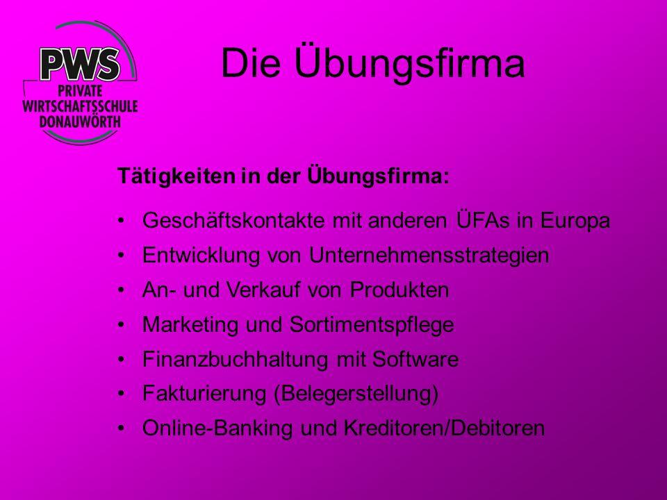 Die Übungsfirma Tätigkeiten in der Übungsfirma: Geschäftskontakte mit anderen ÜFAs in Europa Entwicklung von Unternehmensstrategien An- und Verkauf vo