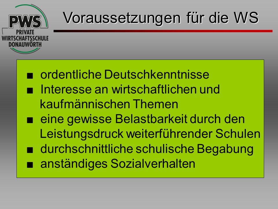 Voraussetzungen für die WS ordentliche Deutschkenntnisse Interesse an wirtschaftlichen und kaufmännischen Themen eine gewisse Belastbarkeit durch den