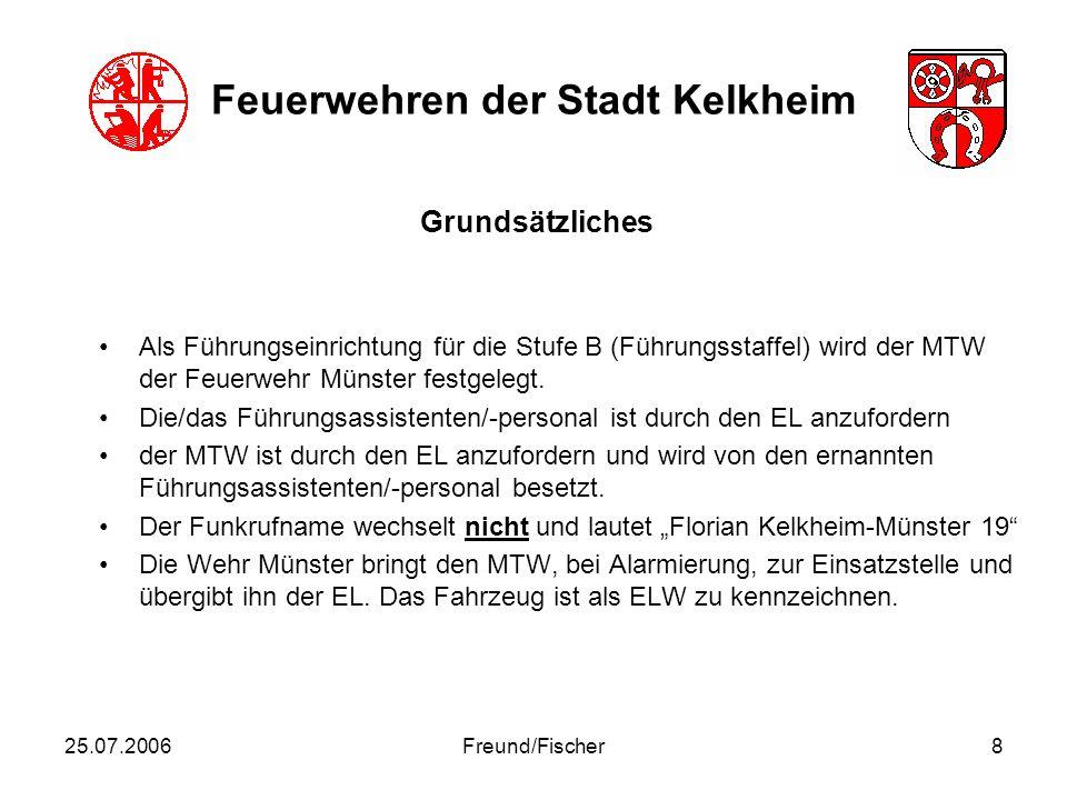 25.07.2006Freund/Fischer9 Feuerwehren der Stadt Kelkheim als Führungsmittel werden 3 identische Einsatzleitkoffer eingerichtet.