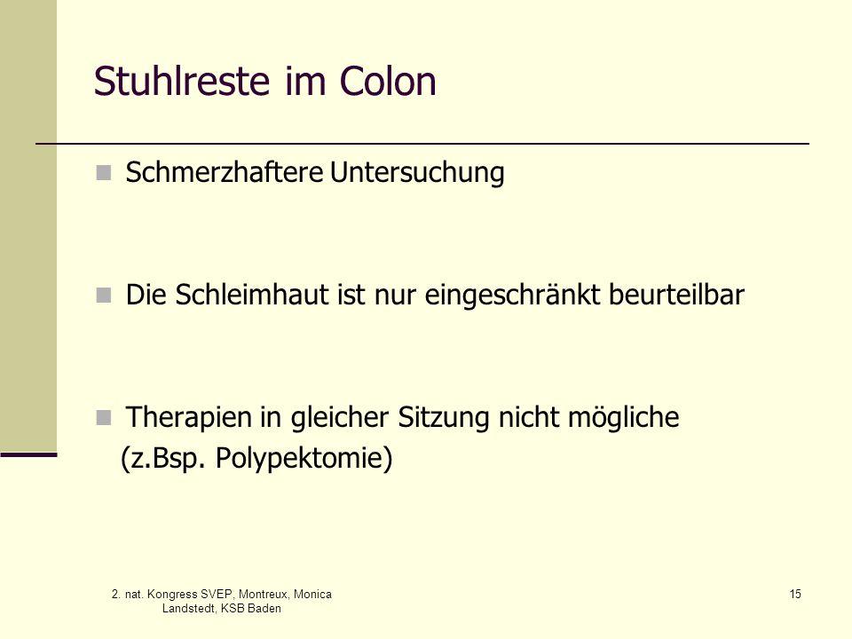 2. nat. Kongress SVEP, Montreux, Monica Landstedt, KSB Baden 15 Stuhlreste im Colon Schmerzhaftere Untersuchung Die Schleimhaut ist nur eingeschränkt