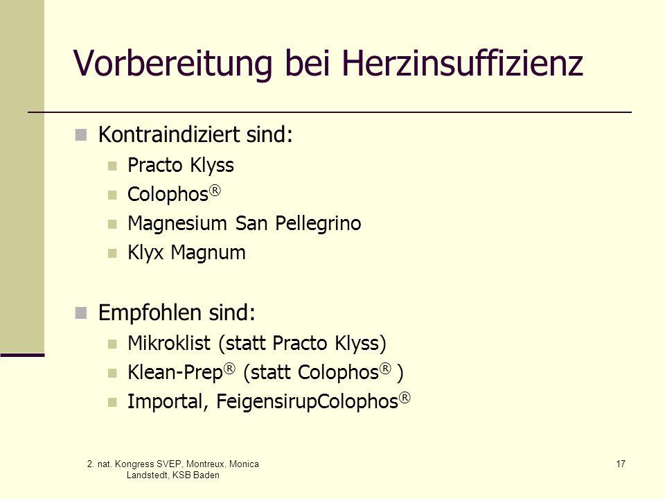 2. nat. Kongress SVEP, Montreux, Monica Landstedt, KSB Baden 17 Vorbereitung bei Herzinsuffizienz Kontraindiziert sind: Practo Klyss Colophos ® Magnes