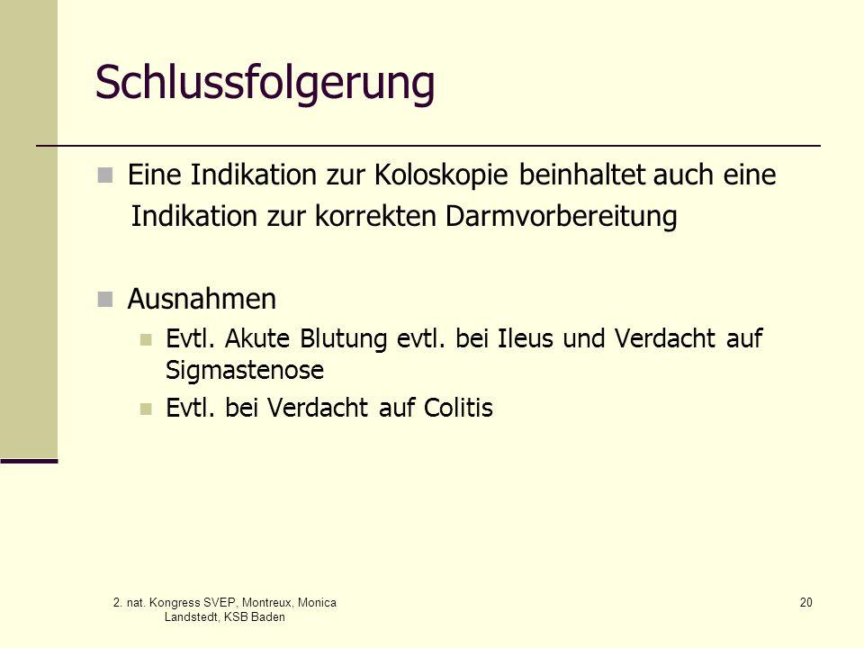 2. nat. Kongress SVEP, Montreux, Monica Landstedt, KSB Baden 20 Schlussfolgerung Eine Indikation zur Koloskopie beinhaltet auch eine Indikation zur ko
