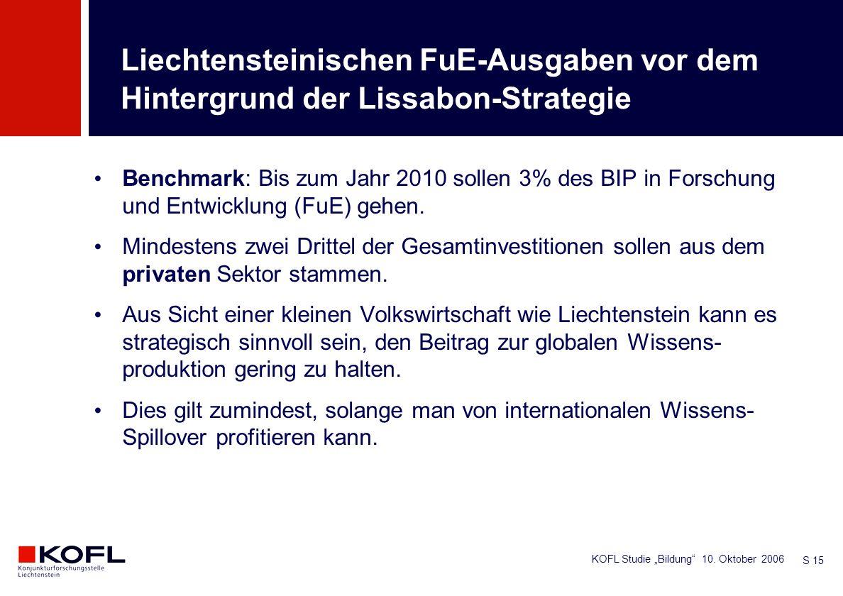 KOFL Studie Bildung 10. Oktober 2006 S 15 Benchmark: Bis zum Jahr 2010 sollen 3% des BIP in Forschung und Entwicklung (FuE) gehen. Mindestens zwei Dri
