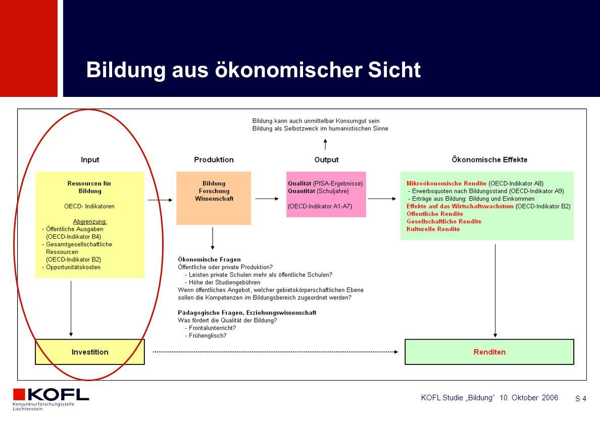 KOFL Studie Bildung 10. Oktober 2006 S 4 Bildung aus ökonomischer Sicht
