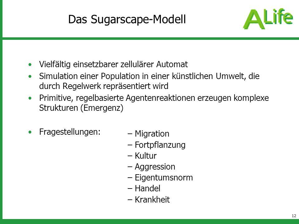 12 Das Sugarscape-Modell Vielfältig einsetzbarer zellulärer Automat Simulation einer Population in einer künstlichen Umwelt, die durch Regelwerk reprä