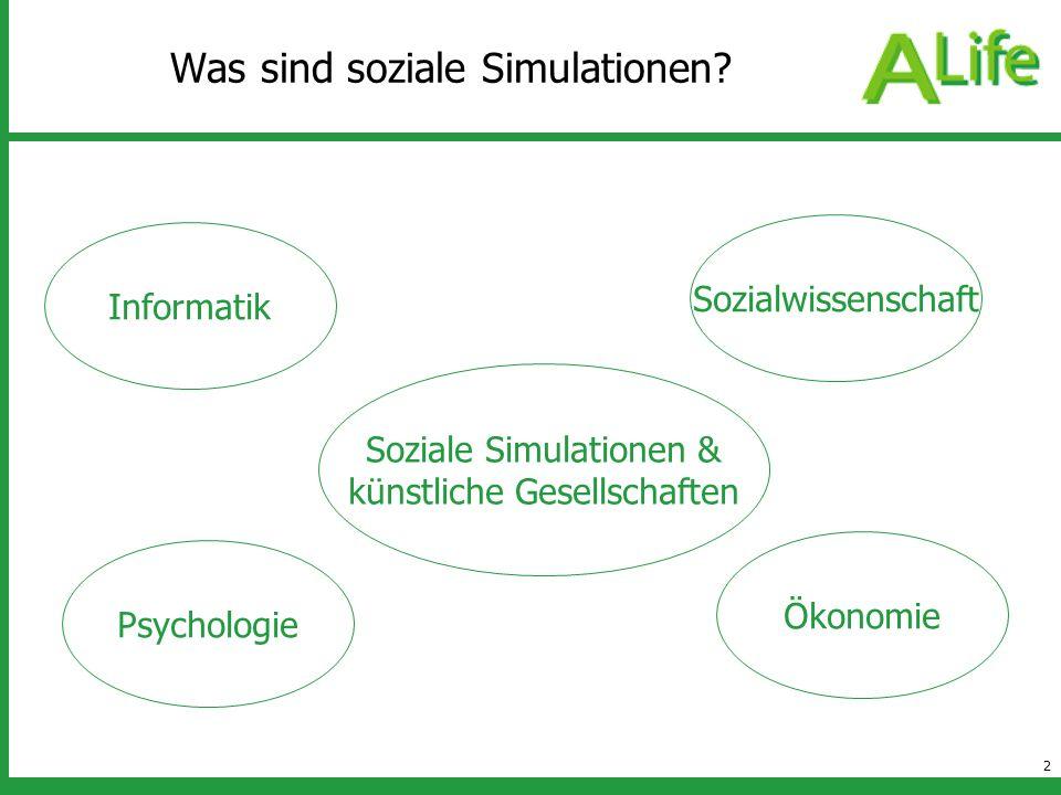 3 Interessante Fragestellungen sozialeSimulationen Individuen Gesellschaften Menschen Computer Warum ist der einzelne sozial.