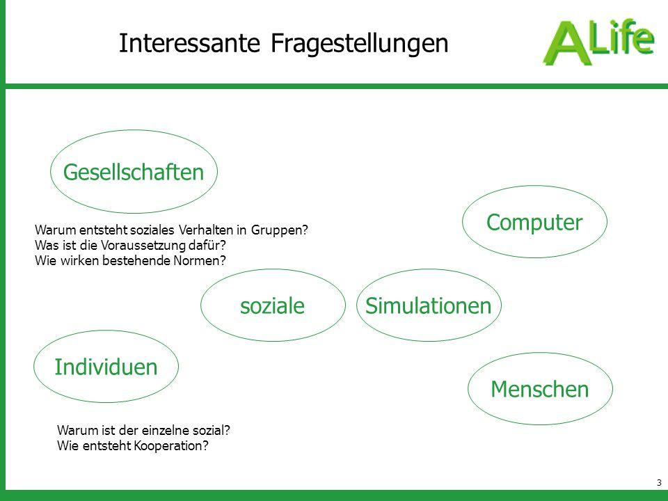3 Interessante Fragestellungen sozialeSimulationen Individuen Gesellschaften Menschen Computer Warum ist der einzelne sozial? Wie entsteht Kooperation