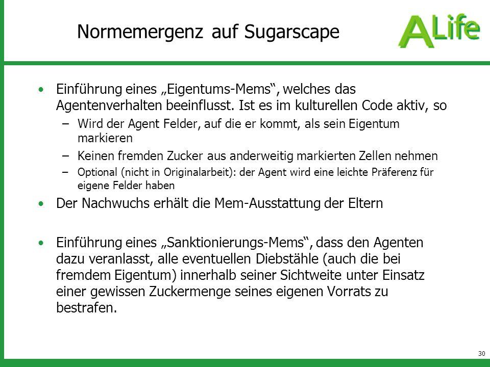 30 Normemergenz auf Sugarscape Einführung eines Eigentums-Mems, welches das Agentenverhalten beeinflusst. Ist es im kulturellen Code aktiv, so –Wird d